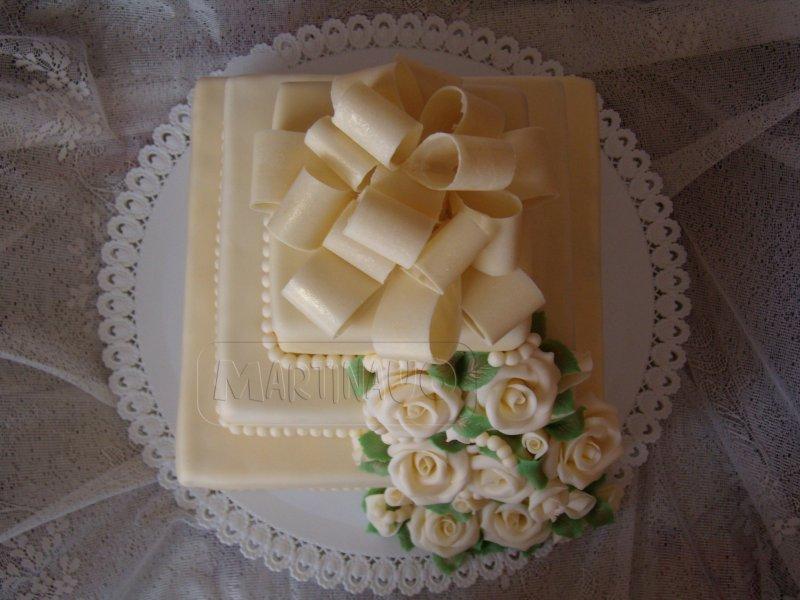 Čtverce svatební, detail čokoládové mašle